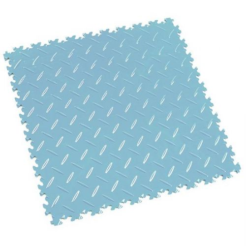 Light Blue Diamond Plate - Motolock Interlocking Floor Tile